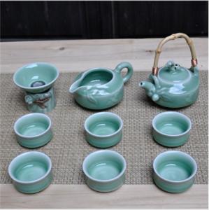 10头提梁福绿寿 龙泉青瓷提梁茶具 仿冰裂纹茶杯茶壶套装功夫茶具瓷器